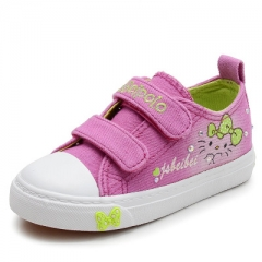 2017 New Autumn Girls Shoes Deodorant Canvas Children Shoes Flower Embroidery Girls Sneakers pink uk7.5