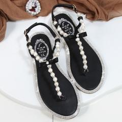 2017 summer beaded stone pearl female sandals Rome flat sandwich toe women's sandals black uk2.5