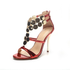 Summer Gladiator Sandals Women High Heels Sandals Party Wedding Shoes Glitter Gold Ladies Sandals red uk2.5