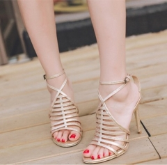 2017 Sexy crossed strap rhinestone sparkle lady sandals 8.5cm heel summer dress shoes special style gold uk2.5