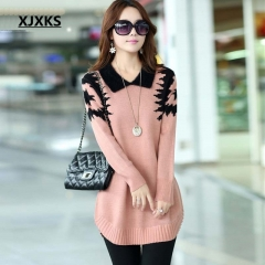 Collar sweater dress women pullover medium-long print basic slim ropa mujer wool cashmere sweater pink m