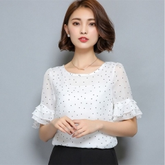 Women Short Sleeve Ciffon Blouse Fashion Casual Shirts Loose Tops Polka Dot O-Neck Chiffon Shirt white s