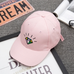 Hot  summer women's luminous diamond bend along the baseball cap and the soft sun protection sun hat pink