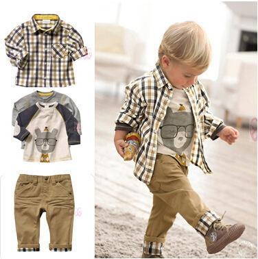 3 Pcs Baby Boys Clothes Suit Kids Clothes Sets Outfits Vintage European Style Plaid Shirt Jeans Coat khaki 80cm