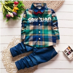 Spring Kids Clothing Set Boy Clothing Sets Children's Fashion Plaid Suit Boys Clothes Baby Kids Sets green 80cm