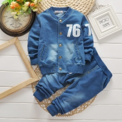 Fashion boys clothing sets denim suit baby boy 2 pcs Sets Kids spring autumn casual clothes suit blue 90cm