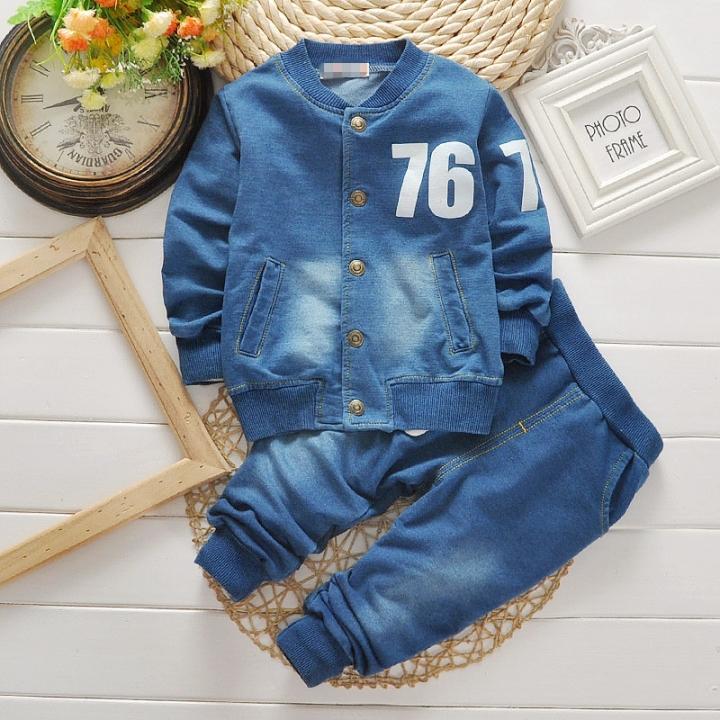 Fashion boys clothing sets denim suit baby boy 2 pcs Sets Kids spring autumn casual clothes suit blue 90cm