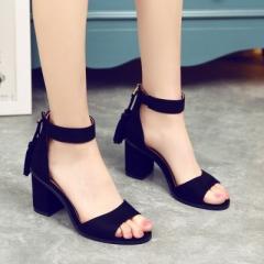 Woman Shoes summer Tassel Flock women sandals fringe sandal heels Thick high heels sandals black 5cm uk2.5
