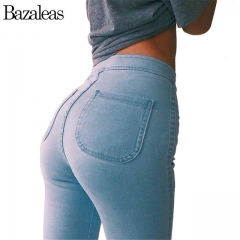 Style Celebrity Women Jeans Stretch Skinny elastic Denim Jean High Waist hip-lifting Pencil Pants sky blue xl