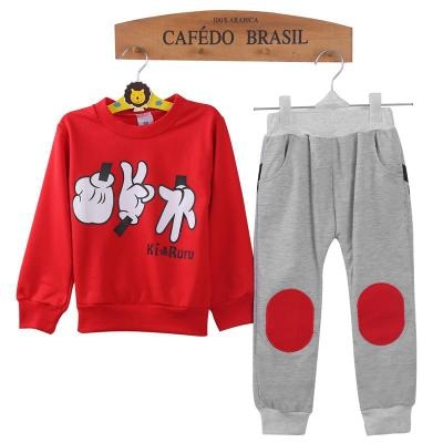 Spring Children Clothing Set Finger Games Pattern Boys Sport Suits Casual Cotton Kids Tracksuits red 90cm