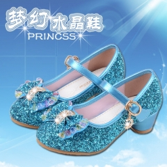 Hot Girls Shoes Lovely Diamond Bow Children Sandals High Quality Princess Kids Shoes Children Shoes blue uk3.5
