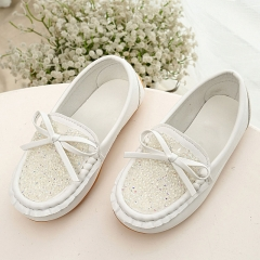 Girls Female Footwear With Rhinestones Bow Spring Summer Autumn Breathable Casual Kids Peas Shoe white uk5.5