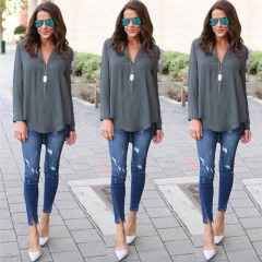 Deep V Neck Chiffon Blouse Shirt Loose Casual Fall Blouses Women Long Sleeve Button Back Top grey s