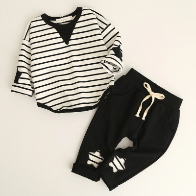Fashion Style Kids Clothing Sets Long Sleeve Striped T-shirt+Pants 2Pc for Children Clothing black 80cm