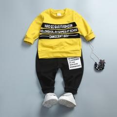Hot Childrens Spring Autumn Cotton Boys letter Long Sleeve sport T Shirt+pant 2pc/set kids Clothes yellow 80cm