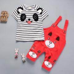 Summer boys clothing sets panda cartoon cute clothes kids bib short sleeve t shirt+Strap shorts red 12M