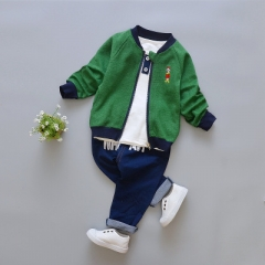 Boy Autumn 3 Piece Girls Clothes Sets Coat Sport Suit Boys Clothes Sets Cartoon Cotton Clothes green 12m