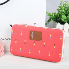 Women's Flowers Pencil Case Wallet Ms. Lunch Box purse Mobile Phone Bags Free Shipping For Women red one size