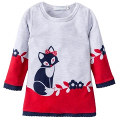 Kids Winter Warm Dress Girl A-line fox Sweater Dresses Knitted Long sleeve O Neck Party Wear Dress red 90cm