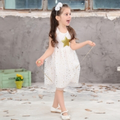 3-10Y Baby Girls Sequins Dress Star Printed with Belt Sleeveless Princess Party Kids Dresses white 100cm