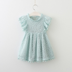 Summer girls dress lace dress for kids clothes tassel dresses princess children summer vestidos sky blue 100cm