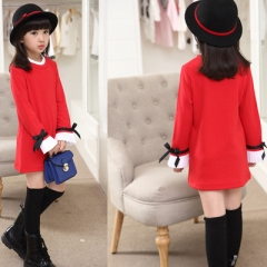 Spring Autumn Girls Clothes Long Sleeve Kids Dresses for Girls Fashion Childrens T-shirts Dress red 110cm