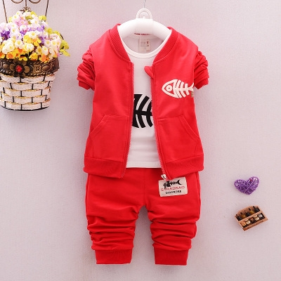 Baby Children Clothing Sets Boys Cotton Coat + shirt + trousers Suits Autumn Children Tracksuits red 12m