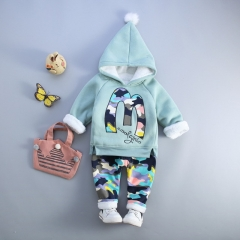 Autumn Children's Clothing Sets Boys Girls Camouflage Clothes Thick Warm Letter M Cotton Sport Suit green 18m
