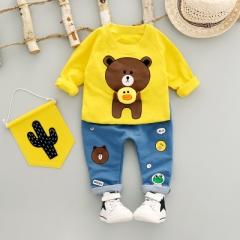 Boys Clothing Set Autumn Fashion Style Cotton O-Neck full Sleeve with Bear Print Baby Boy Clothes yellow 12m