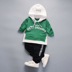 Boy Clothing Set High Qulity Cotton Kids Toddler Clothes Letter Hooded Suit For Boy Long Sleeve suit green 80cm