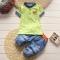 Children Boys Clothing Sets Top + shorts Summer Set Toddler Kids Tracksuit Clothes Sport suit Set green 12m