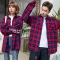 Couple Clothes Lovers Korea Red Plaid Shirt Preppy Style Female Male Long Sleeve Casual Tops red s