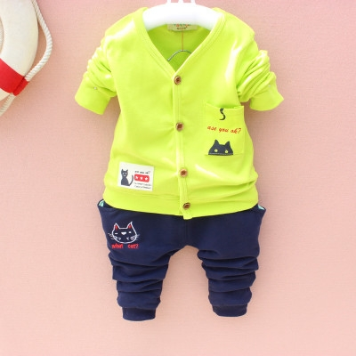 2018 Hot New fashion baby spring&autumn clothes sets cute cardigan+pants 2pcs boys&girls kids sets green s