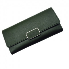 Women Long Leather Wallet Portable Multifunction Solid Color Purse Female Change Purse Lady Clutch army green one size