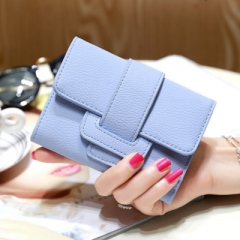 Luxury Soft Leather Women Hasp Wallet Fashion Tri-Folds Clutch For Girls Coin Purse Card Holders blue one size