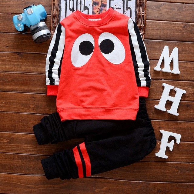 2018 Spring kids clothing baby boys clothes sets long sleeve t-shirt + pants children's clothes sets red s