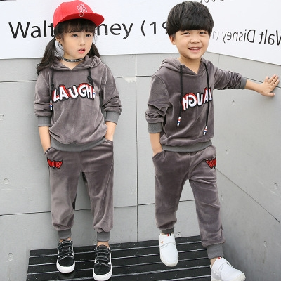 2018 Girls Suit Children Autumn Long Sleeved Casual Sportswear Jinsirong Children Hooded Two Piece grey 100cm