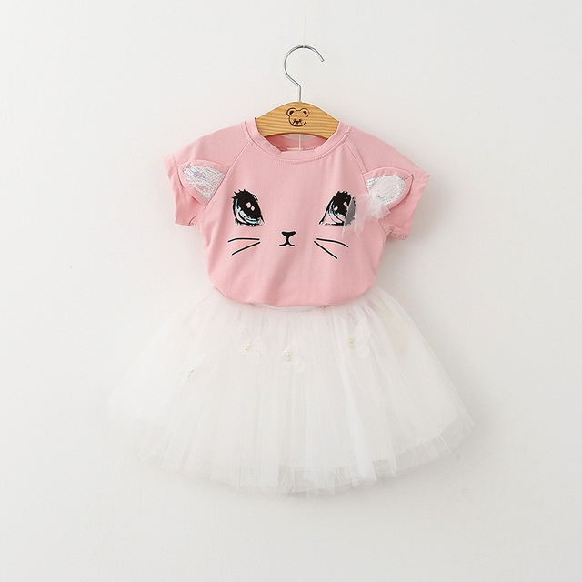 2018 Summer Casual Style Cartoon Kitten Printed T-Shirts+Net Veil Dress 2Pcs for Girls Clothes 2-6Y pink 90cm