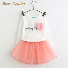 Lovely Girls White Tee Shirt and Pink Skirt With Rhinestone Clothes Set for Kids Girl Clothing Sets pink 2t