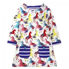 2018 New Autumn Girls Dresses European and American Style Blue broken Flower Brand Baby Kids Dresses #01 2t