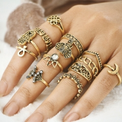 Vintage Knuckle Ring Set for Women Anel Aneis Bague Femme Stone Silver Midi Finger Rings Jewelry gold 13pcs/Set