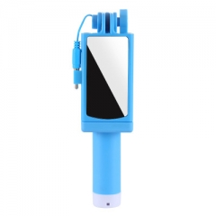2018 mini mobile phone self timer stainless steel large mirror artifact 360 degree telescopic rod blue