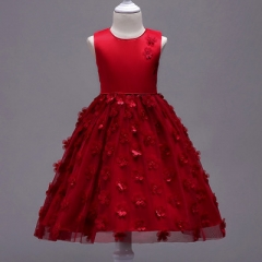 2018 Flowe Girl Dress Elegant Pageant Formal Sleeveless Veil Princess Party Wedding Dress For Girl red 100cm