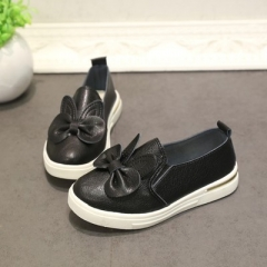 Spring girl leather shoes for kids bow candy color children's casual flats princess shoes for girls black uk9.5