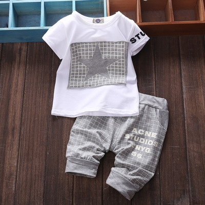 2018 New Fashion Baby Boys Girls Star Short Sleeve T-Shirt Top + Plaid Cropped Pants Outfit Set grey 80cm