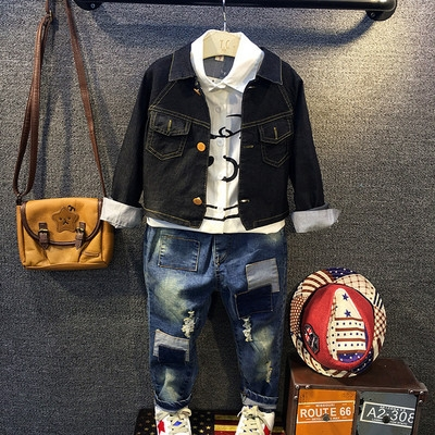 3PCS Boys Suit Jacket Shirt Jeans Children's Suit Kids Clothing Apparel Long-sleeved Denim Coat black 3t