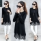 2018 Spring Autumn Fashion Long Sleeve Blouse Shirt Black Patchwork Lace Tops Knitted Pullover Mujer black s