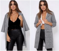 2018 High Quality Winter Jacket Women New Fashion Plaid Autumn Coat Bomber Jacket Casual Women Tops grey xl