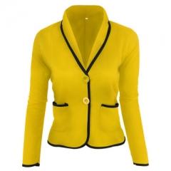 Autumn Jackets Ladies Pocket Long Sleeve Basic Bomber Jacket Short Coat Chaquetas Outwear tops yellow s