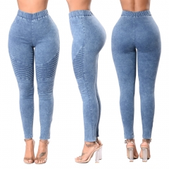 2018 Women Jeans High Waist Slim Long Jeans Female Elastic Waist Pencil Jeans Pants Causal Hip Jeans sky blue 2xl
